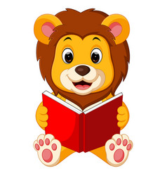 lion reading book vector image vector image