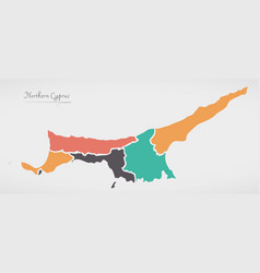 Northern cyprus map with states and modern round vector