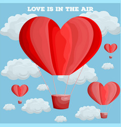Red heart air balloon valentine day card vector