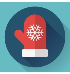 Red winter glove with snowflake Flat designed vector image