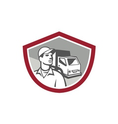 Removal Man Delivery Van Shield Retro vector image