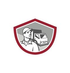 Removal man delivery van shield retro vector