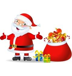 Santa with a bag of Christmas Gifts vector image vector image