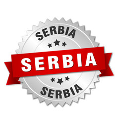 Serbia round silver badge with red ribbon vector