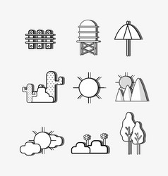 Set natural lanscape things concept vector