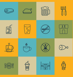 Set of 16 food icons includes restroom ale vector