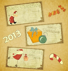 set of Retro Christmas cards vector image vector image