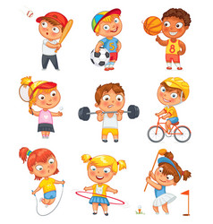 sports and fitness funny cartoon character vector image vector image