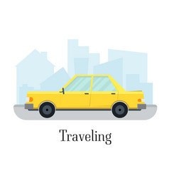 travelling car taxi transportation service vector image