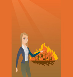 Woman standing on background of wildfire vector
