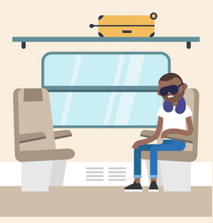Young black passenger sitting in the train vector