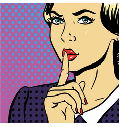 young woman showing be silent sign pop art comic vector image