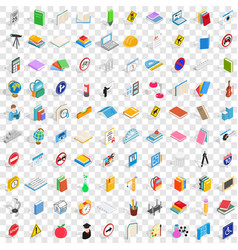 100 exam icons set isometric 3d style vector