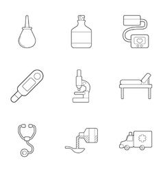 Vip treatment icons set outline style vector