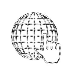 earth globe with cursor black dotted icon vector image