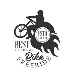 Bike freeride best extreme vintage label black vector
