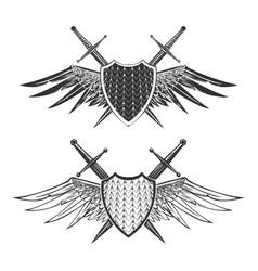 Shield with swords emblem set vector