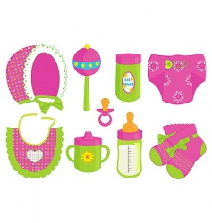 Baby girl accessories vector