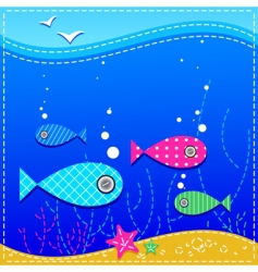 Underwater ocean and fishes vector