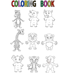 Wild animal coloring book vector