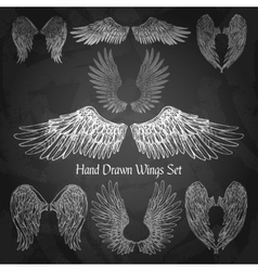 Wings chalkboard set vector