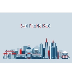 San francisco united states city skyline flat vector