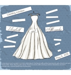 Vintage poster with beautiful wedding dress vector