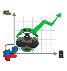 Bull and graph growth of russian ruble quotations vector