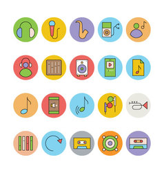 Music colored icons 7 vector
