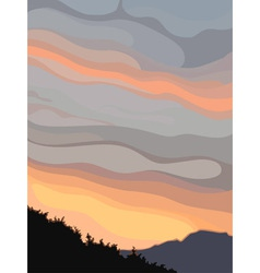 Background gray orange sky at sunset vector image vector image