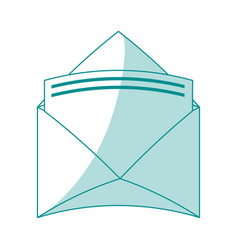 blue silhouette shading envelopes opened with vector image