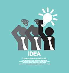Businessman holding a light bulb idea concept vector