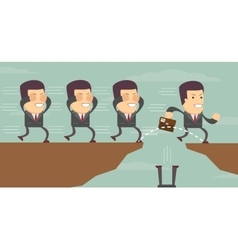 Businessman jump through the gap vector image vector image