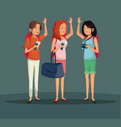 Cheerful tourist women vacation trip vector