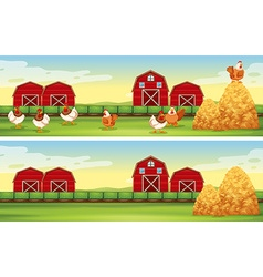 Chickens and barn in the farmyard vector