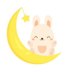 cute rabbit sitting on the moon kawaii bunny vector image vector image