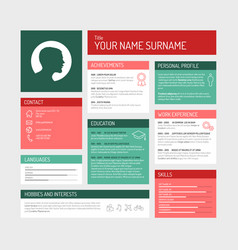 Cv resume template dashboard vector