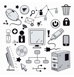 Elements of computer hardware and networks vector