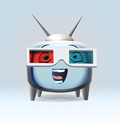 Funny cartoon retro tv character vector