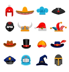Funny headwear flat icons set vector