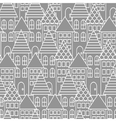 Gray and white line city seamless pattern vector image