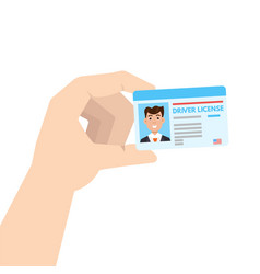 Hand holding car driver license or id cadr vector