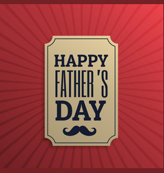 happy fathers day label in red background vector image