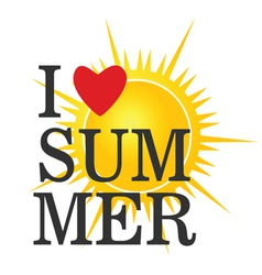 I love summer icon color vector