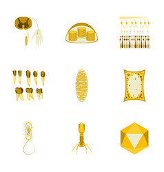 icons set in flat style cells viruses teeth vector image