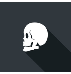 Long shadow icon with a skull vector image vector image