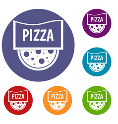 Pizza badge or signboard icons set vector