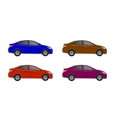 realistic car sedan set isolated on grey vector image