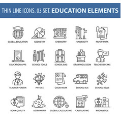 Set of thin line flat icons education vector