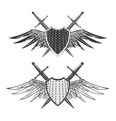 Shield with swords emblem set vector
